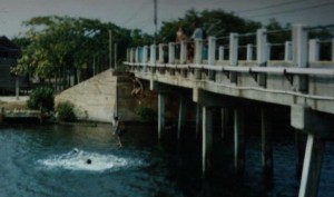 Bridge Jumping in Utila
