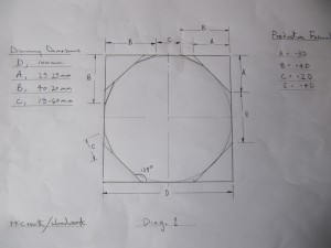 Initial dimensions for 16 sided polygon.