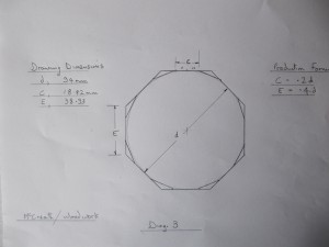 Showing the length and position of the 16 sided polygon